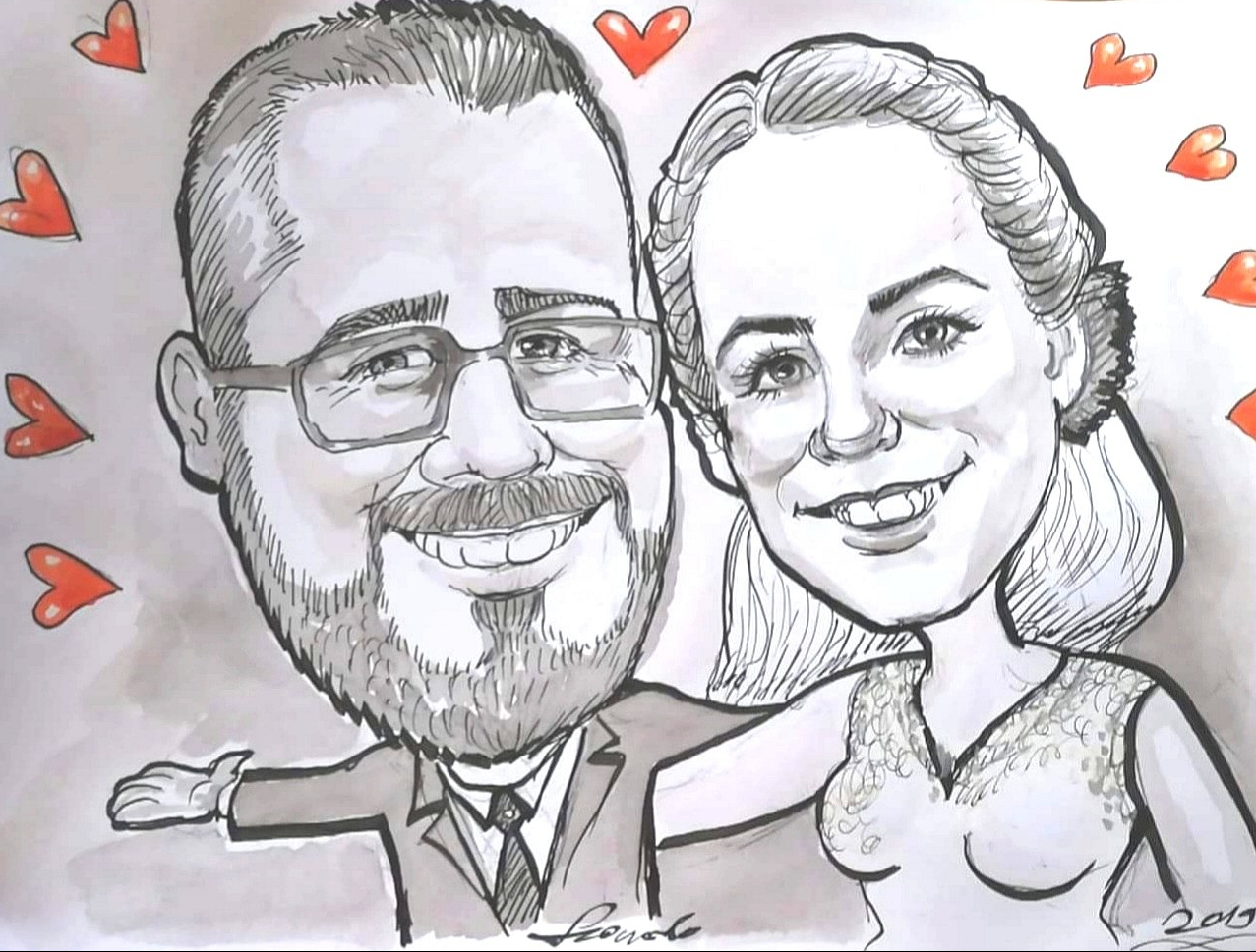 250 CAD - b/w draw-caricature-from-photo-wedding-caricaturist-portrait-artist