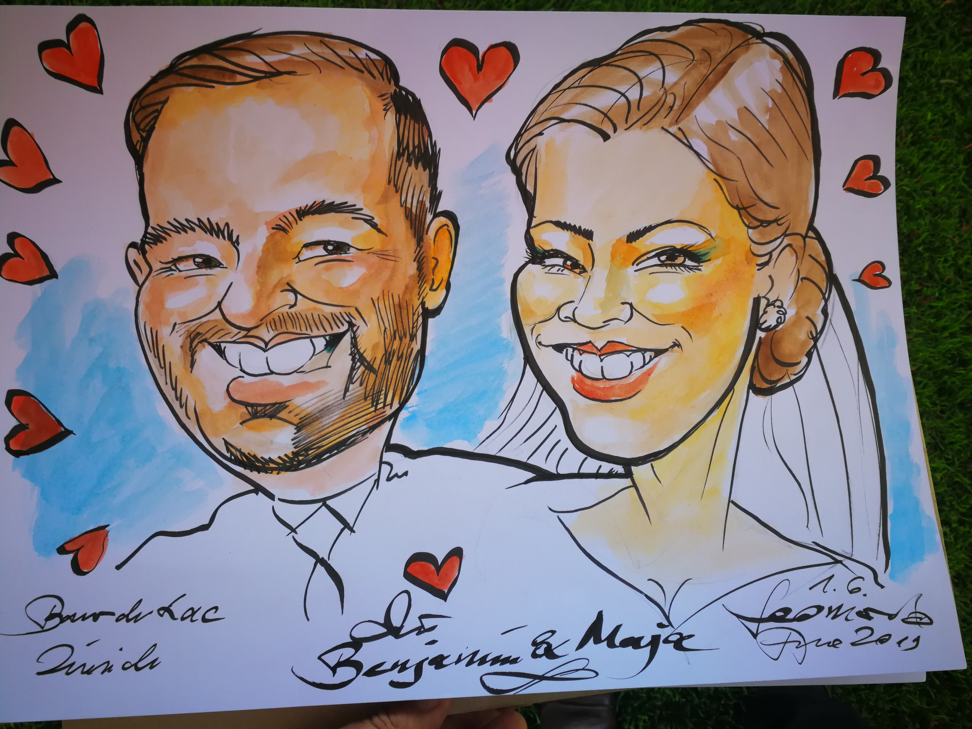 Wedding photo caricature photograh photographs planner service weddings group team caricatures Caricaturist Vancouver Nanaimo Victoria BC portrait painter portrait artist caricature from photo photographs draw to traide fair school team corporate event business hotel conference congress world meeting natical days comox filberg festival christmas xmas party canada