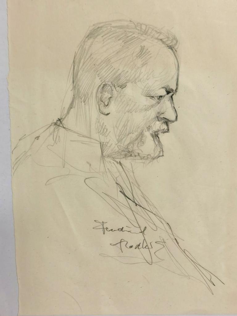Ferdinand Hodler, nach Foto (einem Tag vor seinem Tod) studiert und gezeichnet.