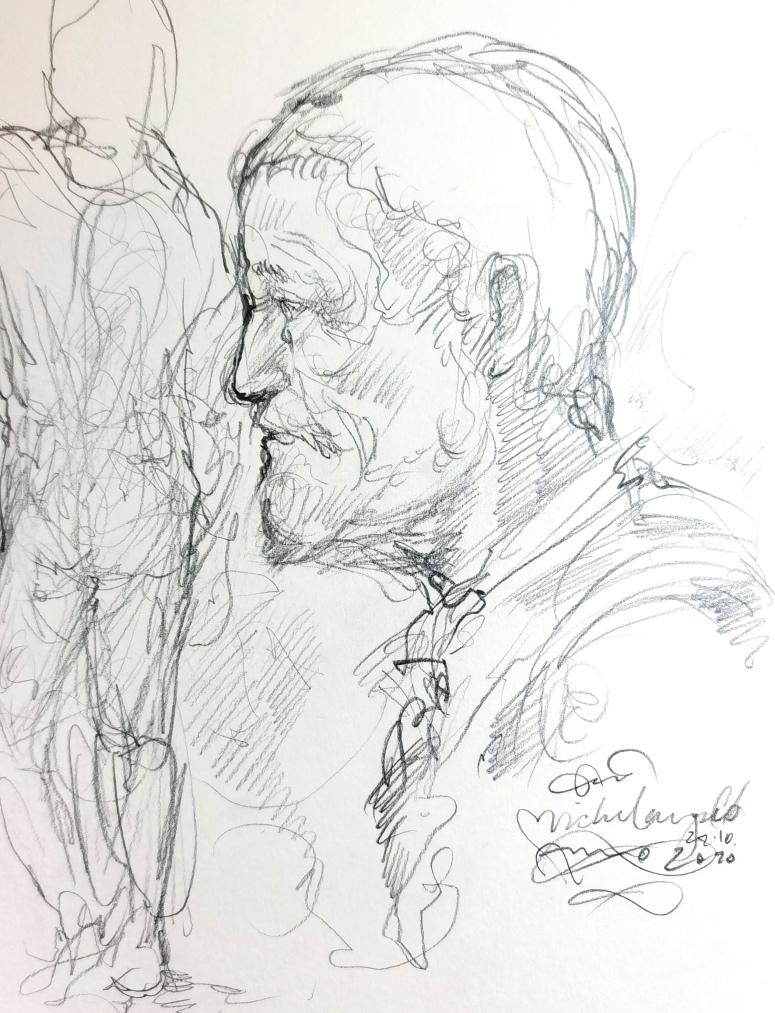 Michelangelo nach Studium einer Portrait Skulptur gezeichnet. 2010
